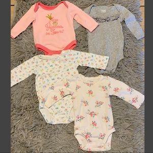 Baby girl long sleeve onesie bundle.